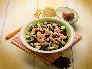 black rice with avocado and smoked salmon