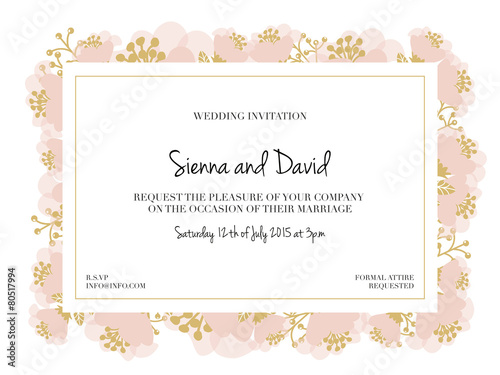 Wedding Invitation Card with pink flower frame Vector design