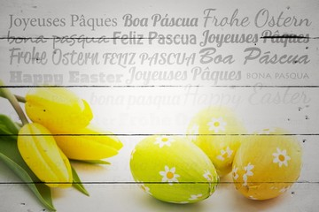 Composite image of happy easter in different languages