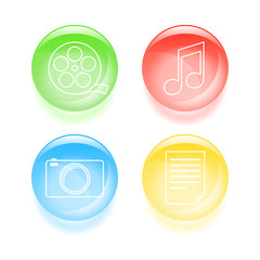 Glassy multimedia icons. Vector illustration