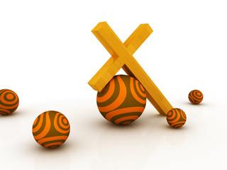 3d illustration of christian cross holding colored rocks