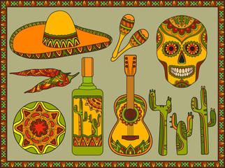 Vector set traditional mexican symbols