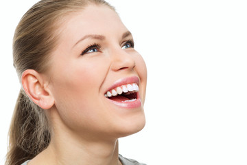 Teeth and gums treatment. Attractive woman with perfect smile