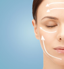 beautiful young woman face with facelift marks