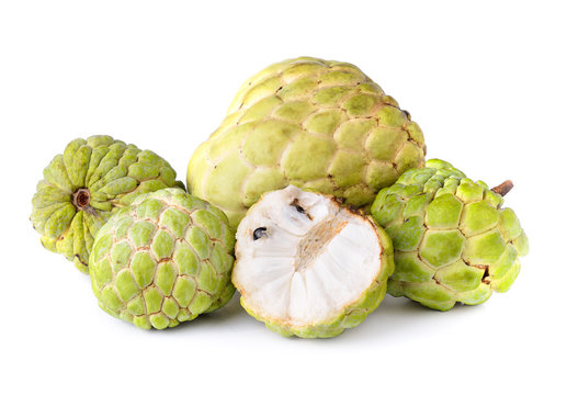 Noni fruits on white background