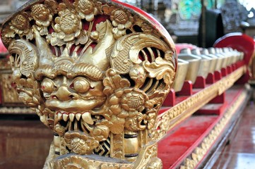Small carved gamelan music gongs, Ubud, Bali, Indonesia