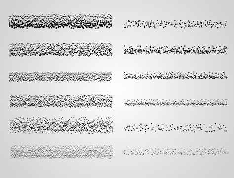 Set of Vector Stipple drawing brushes