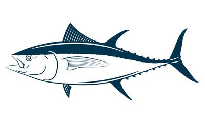 Tuna fish symbol on white background,Vector.