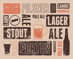 Vector typographic retro grunge beer poster.