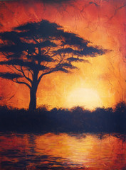 Sunset in africa with a tree silhouette, beautiful colorful