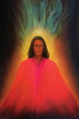 Angel woman meditating, soul awakening, colorful painting