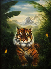 Tiger resting in the jungle, beautiful detailed oil painting