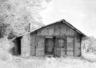 Romantic wooden cabin in mountain landscape, pencil drawing