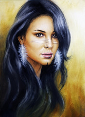 Beautiful illustration portrait of a young enchanting woman face