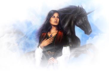 Woman goddess and a black unicorn, beautiful detailed oil paint