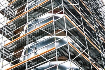 Scaffold at an industrial building
