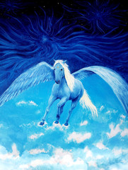Flying white pegasus horse high up in the skies beautiful detail