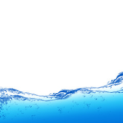 Water and air bubbles over white background with space for text