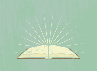 Open book with rays in grunge style. Vector illustration.