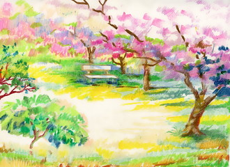 Flowering trees in the garden