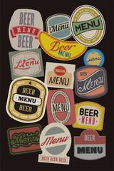 Beer menu design with retro beer labels.