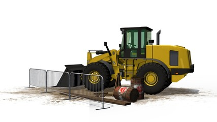 Bulldozer on construction site isolated on white background