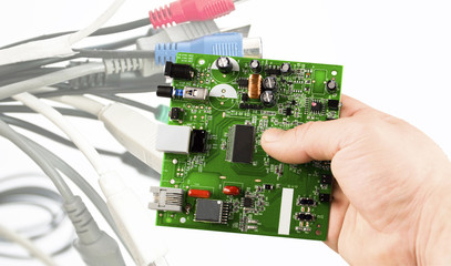 The electronic microcircuit in the hand