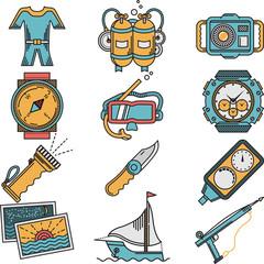 Scuba equipment flat style vector icons