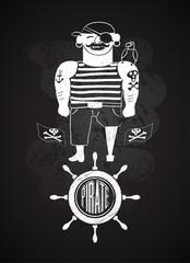 Cartoon pirate design on chalkboard. Vector illustration.