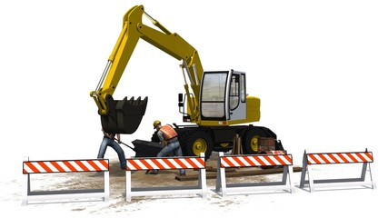 Excavators, construction worker and roadblock white background