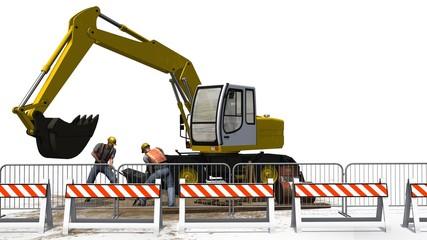 Excavators and construction worker with shovel behind roadblock
