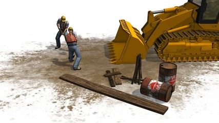 construction bulldozers and construction workers