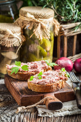 Tasty pate with parsley