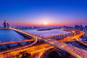 Mapo bridge and Seoul cityscape in Korea.