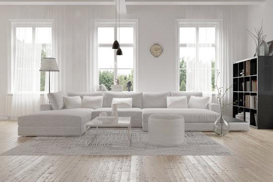 Modernes geräumiges Wohnzimmer im skandinavischen Design