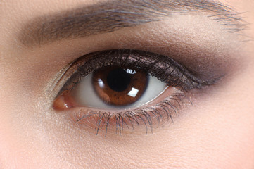 eye close up, bright makeup