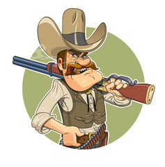 Cowboy with gun. Eps10 vector illustration. Isolated on white