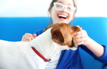 Fototapeta Dziewczynka bawi się piłka z psem rasy Jack Russell Terrier