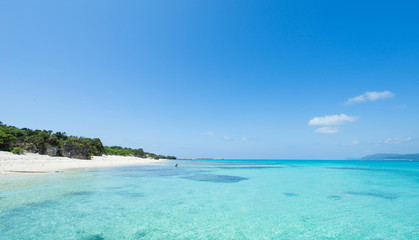 Remote tropical paradise white sand beach full of healthy coral in clear blue turquoise lagoon, Okinawa