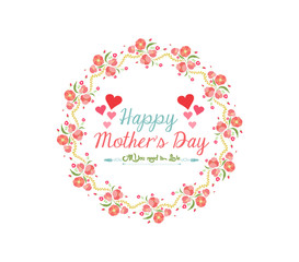 happy mother day with wreath flower