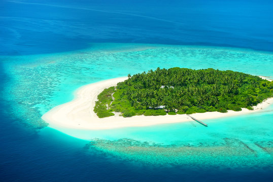 Beautiful tropical island from above. Maldives, Carribean or Sou
