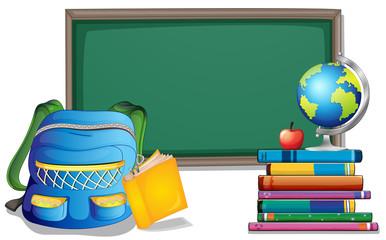 Blackboard and backpack