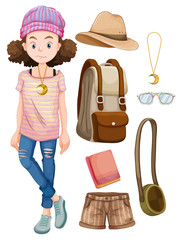 Hipster girl and things