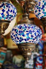 Traditional turksh mosaic lanterns at street bazaar in Turkey