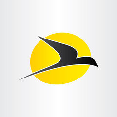 flying bird and sun freedom conceps icon