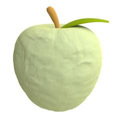 Cartoon apple from plasticine or clay
