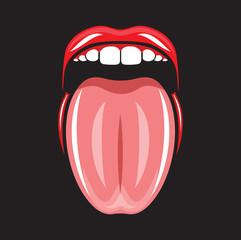 Tongue and lips pop art vector illustration