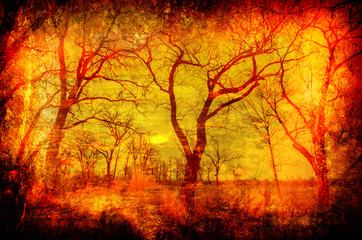 Art grunge landscape showing autumn forest and swamp