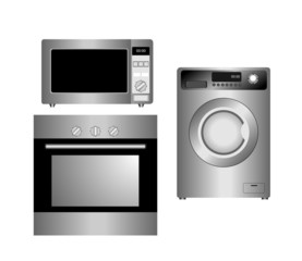 Set of household appliances. Isolated.