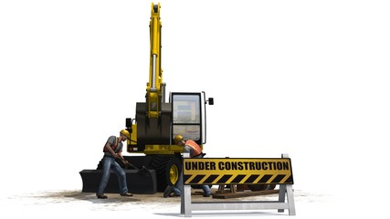 under construction sign excavator and construction worker